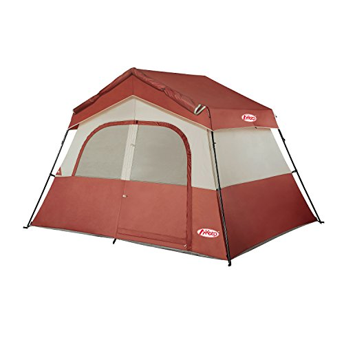 TOMOUNT 6 Person Tent – Easy & Quick Setup Camping Tent, Professional Waterproof & Windproof Fabric, 3 Large Mesh for Ventilation, Double Layer, Anti-UV, Lightweight & Portable with Carry Bag, Red