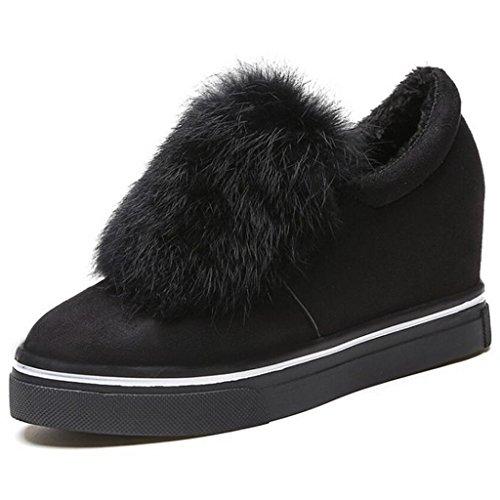 Binying Womens Casual Inner-Increaser Thick Heel Warm Fur Pumps Black Lt1Xg