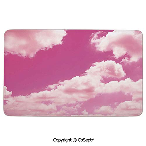 (Doormat Entrance Floor Rug Indoor Mat Non-Slip Flannel,Pink Sky with Clouds Conceptual Airy Fantasy Dream Soft Spring Sweet Sunset,Super Soft Flannel FabricLight Coral Pink)