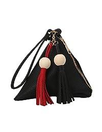 Thobu Fashion Women Tassel Beads Clutch Triangle Shape Handbag Purse Bag 5 Colors-Black