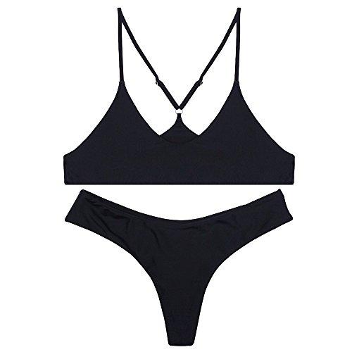 stripsky Brazilian Bottom Bralette Bikini Set, Non-Pad Cross Back Swimsuit for Women, Black XL
