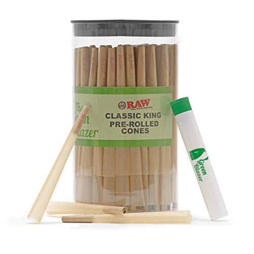 Raw Pre-Rolled Cones Classic King: 100 Pack - Hemp Rolling Papers with Filters - Extra Clean and Slow Burning Cone Made of Pure Hemp - Doob Tube Included