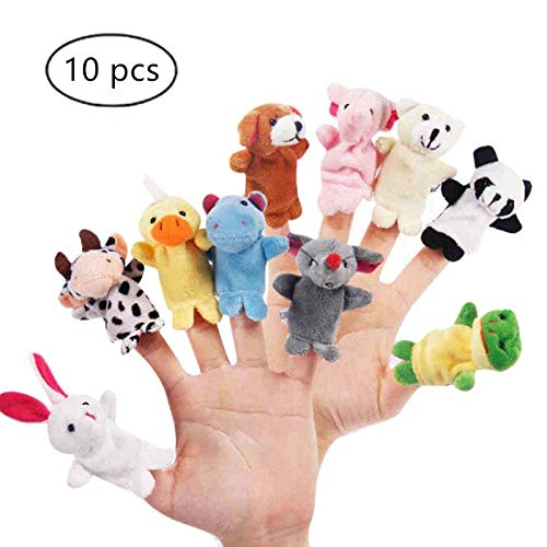 (CARESHINE 10PCS Animals Finger Puppet Toy Plush Toys Kids Toy Elephant, Rabbit, Duck, Cow, Dog, Panda, Bear, Mouse, Frog, Hippos)