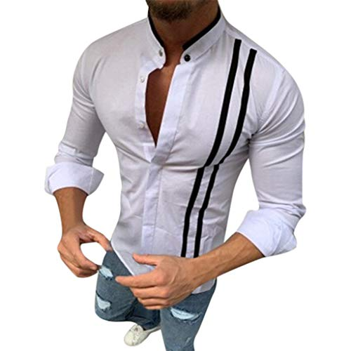 Mens Short Sleeve Shirts Hipster Striped Turn Down Collar Short Sleeve Loose Casual Tee Tops (L, ()