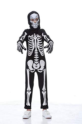 YOLSUN Skeleton Costume for Kids, Glow in The Dark, Halloween Fearsome Costume (3-4(Suggested Height:43