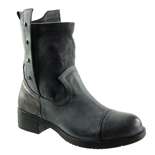 Angkorly - Women's Fashion Shoes Ankle boots - Booty - cavalier - biker - vintage style - studded Block high heel 4 CM Grey hCfaySh2ND