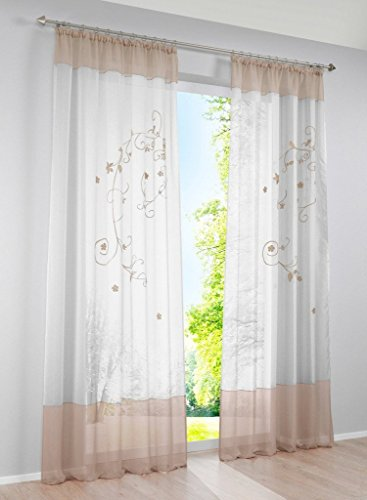 Uphome 1-Pair Floral Embroidered Tab Top Sheer Window Curtain Panel, 55 x 102 Inch, Sand (Window Treatment Ideas)