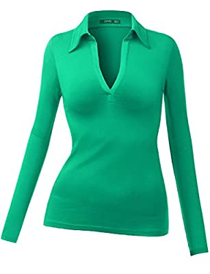 Thanth Womens Polo Collar Deep V-Neck Pullover Casual Blouse Top