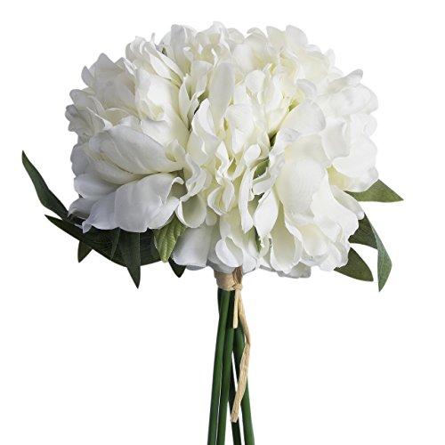 Cathery Artificial Fake Peony Silk Flower Bridal Hydrangea Home Wedding Garden Decor (White)