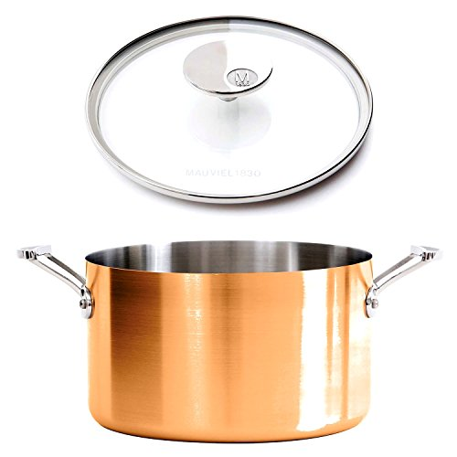 Mauviel M1830 - M'150s Copper and Stainless Steel Lined Stock Pot with Clear Lid, cast stainless steel handles, 11.7qt by Mauviel M1830