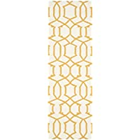 Safavieh Dhurries Collection DHU753C Hand Woven Ivory and Yellow Premium Wool Runner (26 x 8)