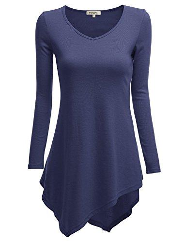 - Doublju V-Neck Tunic Handkerchief Longline Tunic T-Shirt Dress Top for Women with Plus Size POPVIOLET 4XL