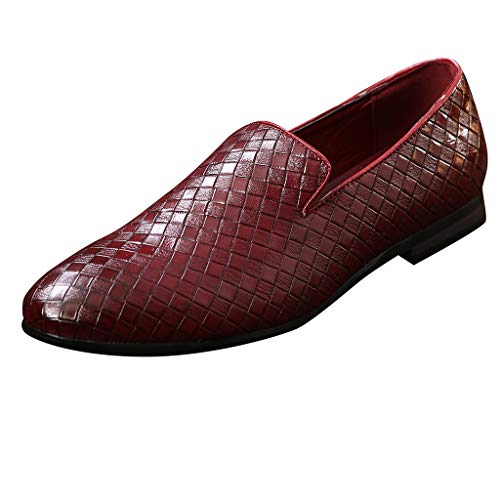 (Answerl☀ Mens Slip on Loafer Cap Toe Square Leather Oxford Formal Business Casual Comfortable Dress Shoes for Men Red )