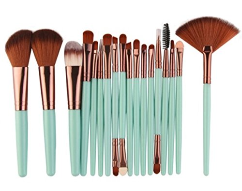 (18 Piece Makeup Brushes Set Powder Eye Shadow Eyeliner Contour Blending Cosmetic Make Up Tools Professional Natural Beauty Palette Eyeshadow Fascinating Popular Colorful Rainbow Hair Kit,)