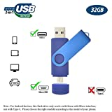 Flash Drive 32GB for Android Phone, Gig Stick OTG USB2.0 Dual Flash Stick 32GB JBOS Memory Stick Thumb Drives Pen Drive for Computers & Android Micro Device (Smartphone Tablet PC Samsung,etc) Blue