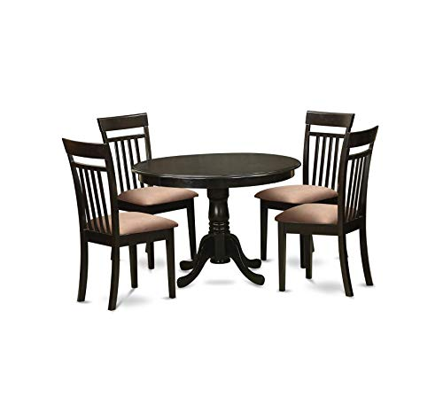Wood & Style Furniture 5-Piece Kitchen Nook Dining Table Set, Cappuccino Finish Home Office Commerial Heavy Duty Strong Décor