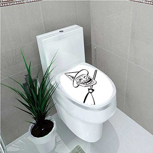 Toilet Custom Sticker,Humor Decor,Halloween Spirit Themed Witch Guy Meme LOL Joy Spooky Avatar Artful Image,Black White,Diversified Design,W11.8