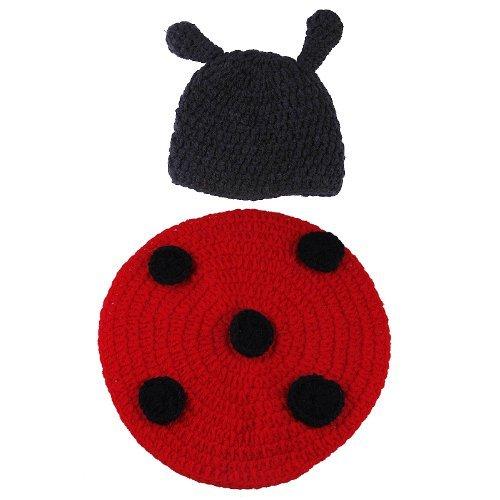 Gem Baby Newborn Boy Girl Cute Ladybug Crochet Cotton Knit Aminal Beanie Cap Hats Diaper Cover Costume Set Photography Photo Prop