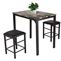 patcharaporn 3 PCS Counter Height Dining Set Faux Marble Table 2 Chairs Kitchen Bar Furniture
