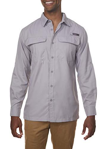 Swiss Collar - Swiss Alps Mens Long Sleeve Lightweight Breathable Outdoor Fishing Shirt Alloy-Gray Medium