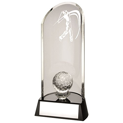 Lapal Dimension CLEAR GLASS GOLF LASERED CURVE COLUMN AND BALL ON BLACK BASE TROPHY - 9in