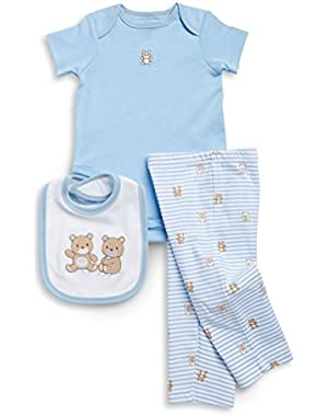 Baby Boys' Cute Teddy Bear Onesie, Pants, & Bib Set
