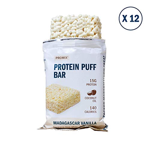 Promix Whey Protein Isolate Puff Bar, Vanilla Bean, 12 Count, 16.9oz | 15g Protein, 150 Calories each|Low Carb Healthy Snack with Egg Whites | All Natural, Grass Fed,Gluten Free, Low - Protein Puffs