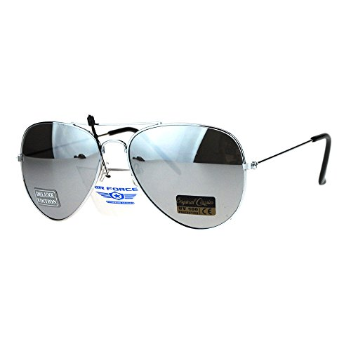 Air Force Mens Metal Wire Rim Classic Police Aviator Sunglasses Silver - Aviator Sunglasses Police