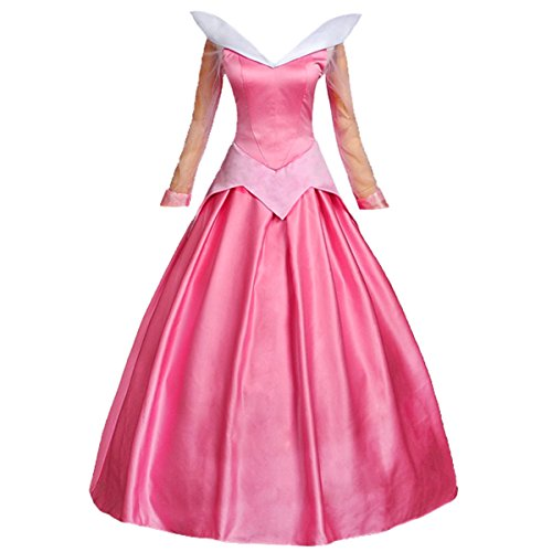 Angelaicos Womens Satin Princess Dress Halloween Cosplay Costume (M, Pink)