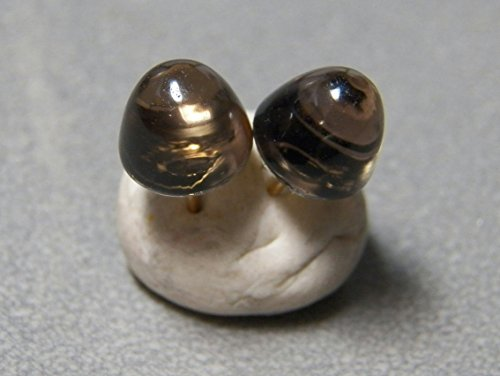 8mm Smoky Quartz and sterling silver bullet post earrings (Cabochon Smoky Earrings)