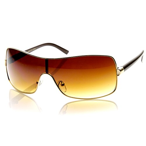 [zeroUV - Modern Fashion Mono Lens Wraparound Shield Sunglasses (Gold-Amber)] (Gold Wrap Around Sunglasses)