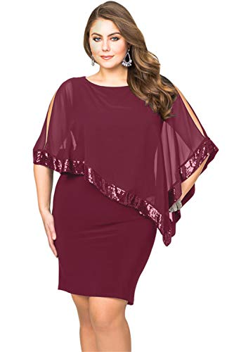 Sequined Overlay - Gloria&Sarah Women Sequined Mesh Overlay Plus Size Pencil Bodycon Party Dress XL-5XL