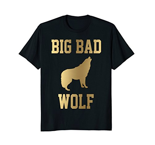 Solid Gold Wolf - Mens Big Bad Wolf Funny Cute Cool Gold T-Shirt Gift XL Black