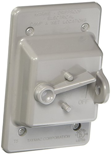Hubbell-Bell PTC100GY Weatherproof Vertical Box Mount Nonmetallic Toggle Cover, 1-Gang, Gray