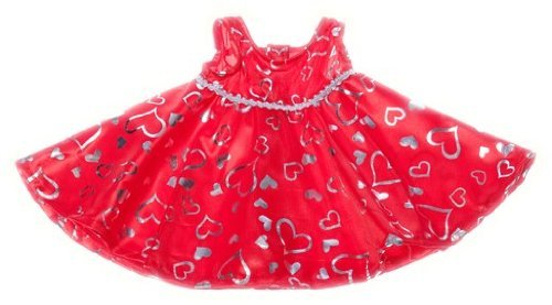 Red and Silver Heart Dress Fits Most 8-10 Webkinz, Shining Star and 8-10 Make Your Own Stuffed Animals and Build-A-Bear by Stuffems Toy Shop -  Teddy Mountain, 9938798