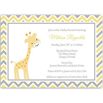 Giraffe Baby Shower Invitations, Chevron Stripes, Gender Neutral, Sprinkle,  Yellow, Grey