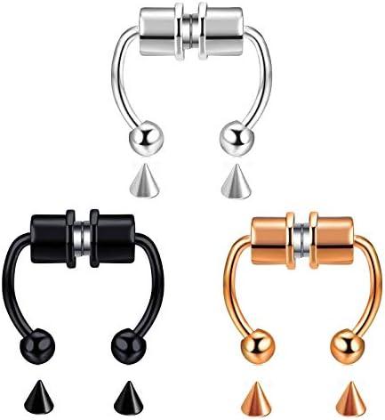 SERYNOW Fake Nose Ring Hoop Magnetic Horseshoe Rings 316L Stainless Steel Faux Septum Rings Non Piercing Clip On Nose Hoop Rings