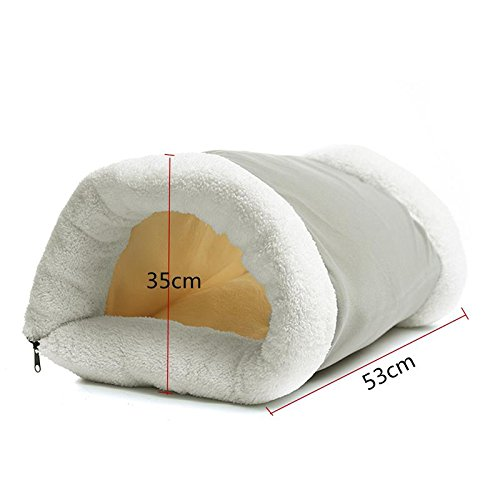 Zippered Pet Cat Kitty Shack Tunnel 2 In 1 Cat Bed Mat Dog Cushion Pad Pet Heating Mat Collapsible Cat Favor Blanket Warm Fleece