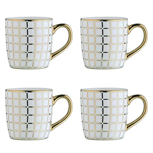 BIA 993023+1663PK4 Electroplated Mugs Espresso Cups, Porcelain, 100 milliliters