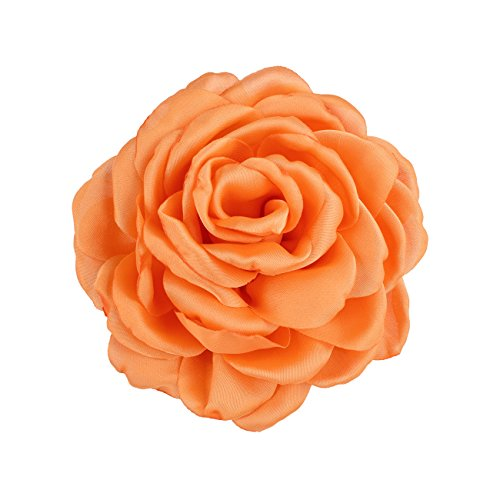 DDazzling Rose Hair Clip Satin Flower Fabric Flower Wedding Party Favors (Orange) ()