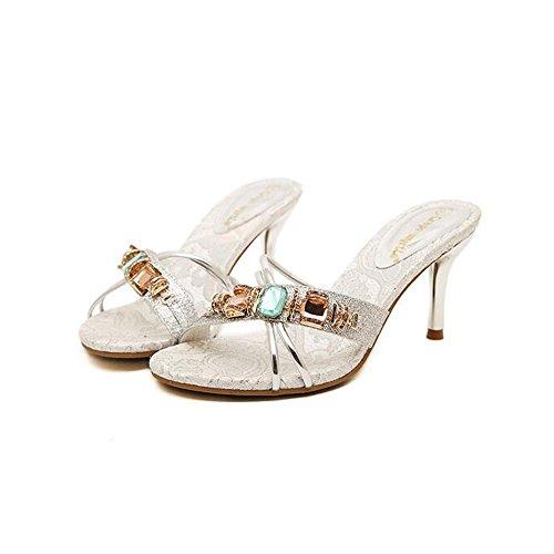 UK5 Plata Zapatillas Plata Mujer Zapatos 5 Plata Tacón EU38 La Material 8 Alto Oro Rhinestone Alto La Feifei de 5CM Verano Tamaño Color Opcional de con CN38 Sexy PU dfA8nwSqwW