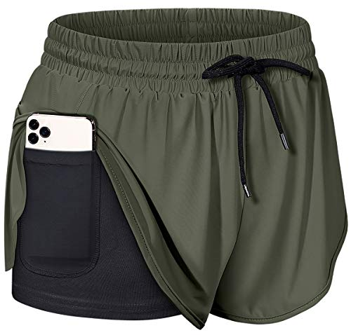 BLEVONH Women Drawstring Waist Athletic Running Shorts with Liner Inner Pocket