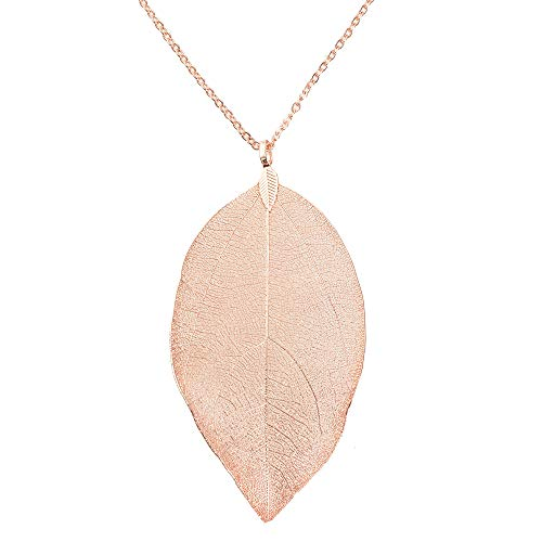Leaf Pendant Necklace And Dangle Earrings Jewelry Set Rose Gold Plated Hypoallergenic Fashion Long Chain Necklace With Silver Earrings Hanging-Style Gifts For Women filigre (single rose gold necklace) (Leaf Design Necklace)