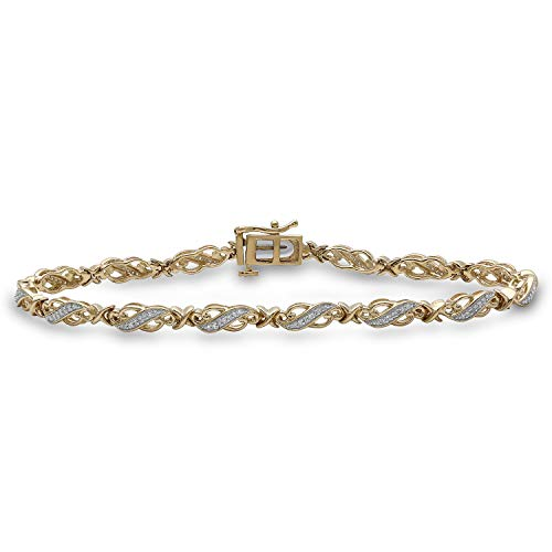 Jewelili 14kt Yellow Gold Plated Sterling Silver 1/4cttw Round Natural White Diamond Bracelet, 7.25 Inch