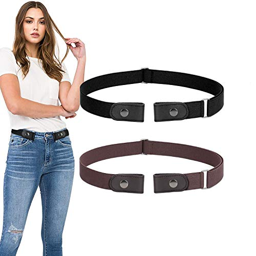 No Buckle Belt For Women Men Buckle Free Belt Plus Size for Jeans Pants 2 Pack, Black+Coffee, Pants Size 24-36 Inches