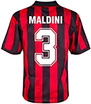 Score Draw AC Milan Home Maldini 3 Retro Jersey 1993-1994 (Retro Flock Printing)