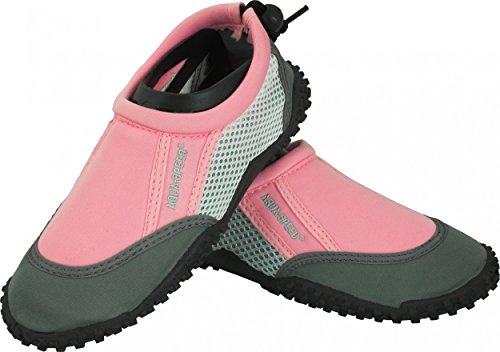 AQUA-SPEED® BLUE / RED / PINK OCEAN Aqua-Schuhe (Kinder Anti-Rutsch-Struktur Schwimmbad Swimmingpool Fixierschlaufe 3 Farbmodelle) + UP®-Schlüsselband, Farbe:Rosa / Weiß - 22B;Schuhgröße:25