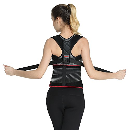 Udoarts Adjustable Lumbar Back Support Belt with Posture Corrector,10 Removable Steel Splints and Dual Straps,Black/Red Butterfly by UDOARTS