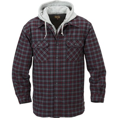 (Gravel Gear Sherpa Lined Hooded Flannel Shirt Jacket - Large, Black/Red Plaid )