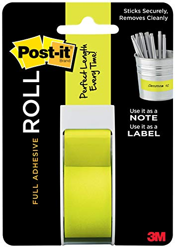 Glue It Post (Post-it Full Adhesive Roll, 1 in x 400 in, Neon Green (2650-G))
